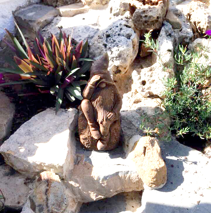 Guarding the rockery at Villa Magica