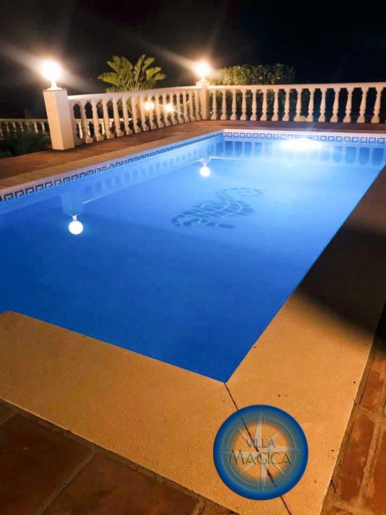 Villa Magica Swimming Pool at night